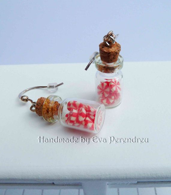 Miniature candies in a glass bottle earrings by Evamini on Etsy, $15.50