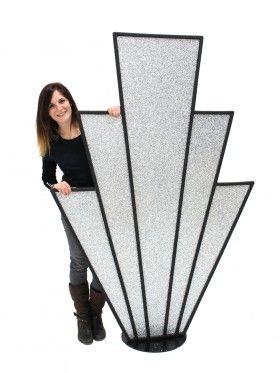 Event Prop Hire: Art Deco Starburst Prop (Silver Glitter)