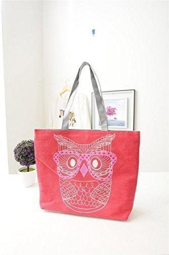 Oferta: 8.99€. Comprar Ofertas de F-fook, diseño de búhos lienzo grande bolsa de playa bolso de hombro mujer para vacaciones de compras reutilizable bolso de m barato. ¡Mira las ofertas!