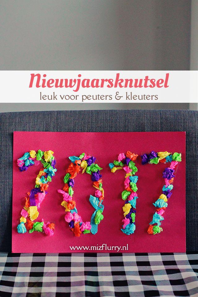 Vrolijke nieuwjaarsknutsel met doorzichtig kaftpapier - leuk voor peuters en kleuters