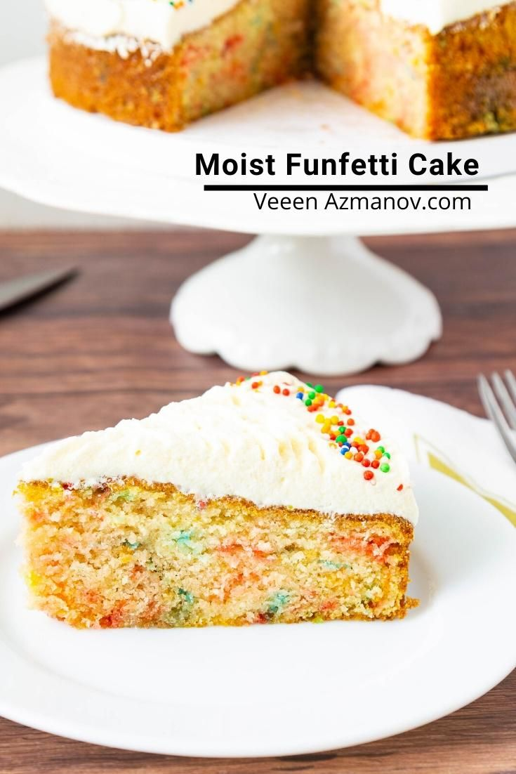 This Funfetti Cake Is My Light And Airy Vanilla Cake With Bright And Cheerful Sprinkles In The Batter Frosted With Swe In 2020 Dessert Recipes Easy Funfetti Cake Cake