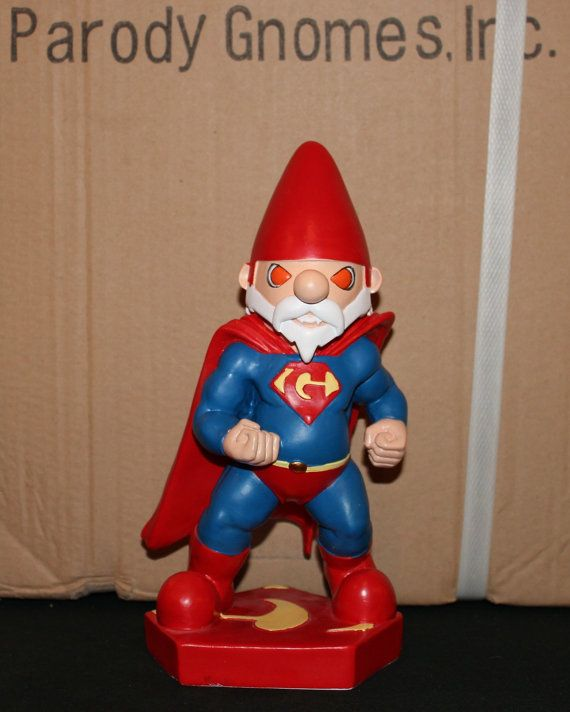 Super Gnome parody garden gnome inspired by DC Comics Superman (TM)