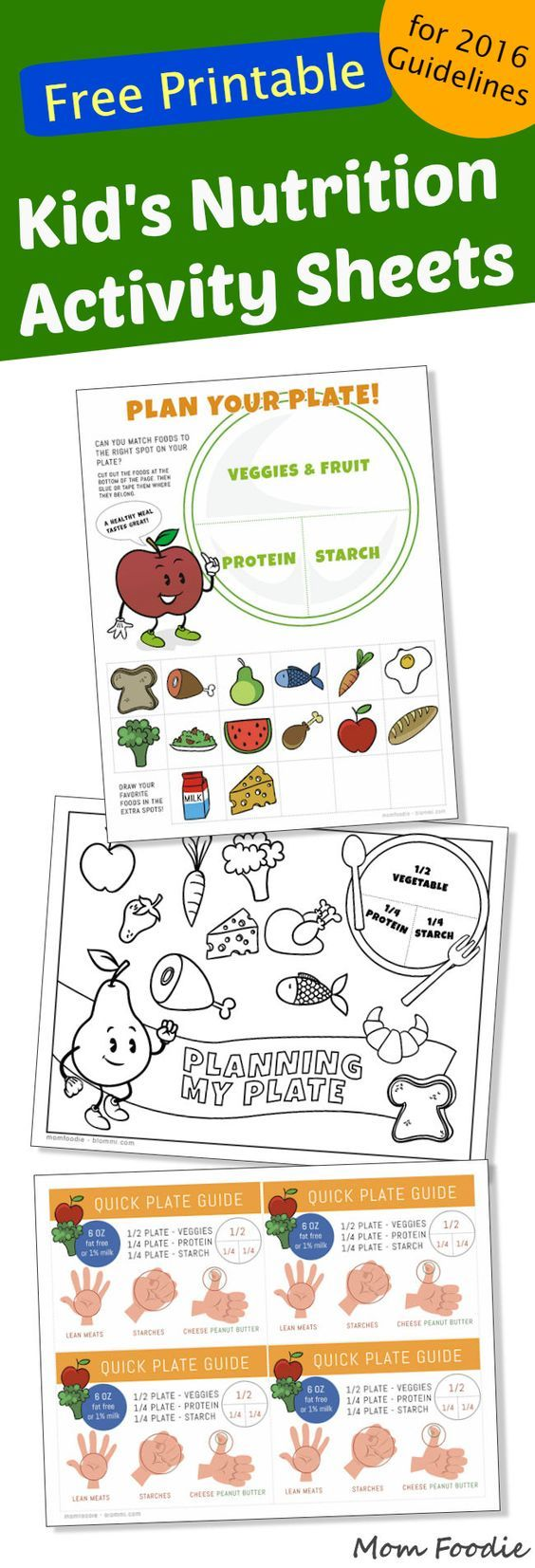 Free Printable Kids Nutrition Activity Sheets based off