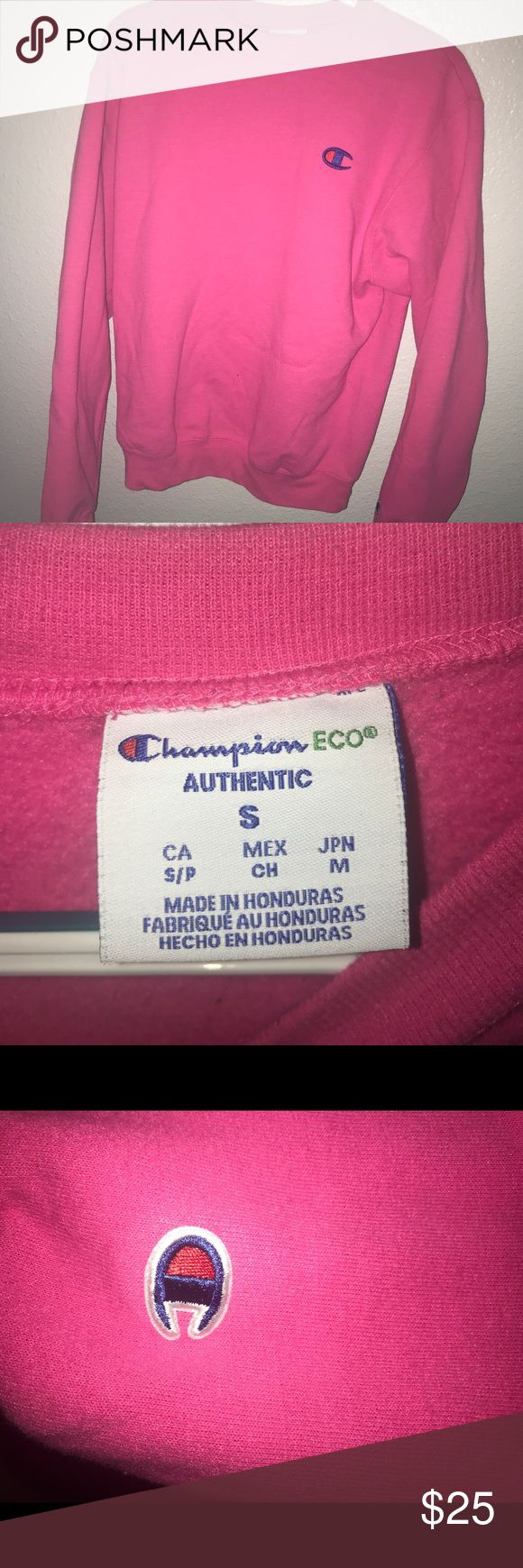 PINK CHAMPION SWEATSHIRT bright pink champion sweatshirt, super comfy, worn twice and no stains/ pulls. offers available:) Champion Tops Sweatshirts & Hoodies