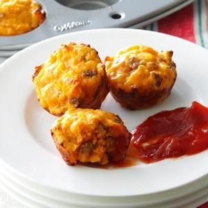 Cheeseburger Mini Muffins Recipe from Taste of Home -- shared by Teresa Kraus of Cortez, Colorado