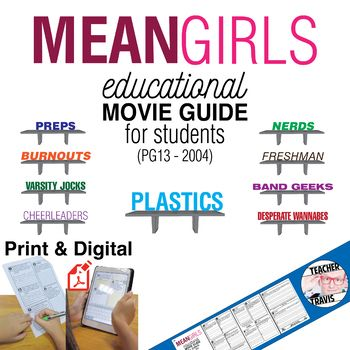 This Mean Girls Movie Guide consists of 11 high-level, short answer and essay questions that challenge students to think critically about how gossip creates chaos, hate and regret.  #meangirls #yougoglencoco #CadyHeron #ReginaGeorge #movieguides #lessonplans #teachers