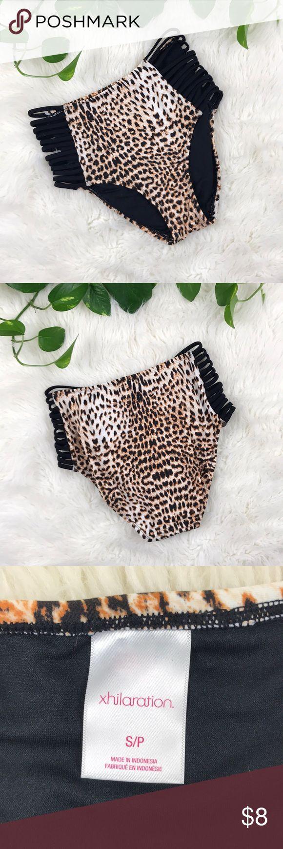 High rise swimsuit bottoms Never worn high rise animal print bikini bottoms with strappy cut out sides. Xhilaration Swim Bikinis