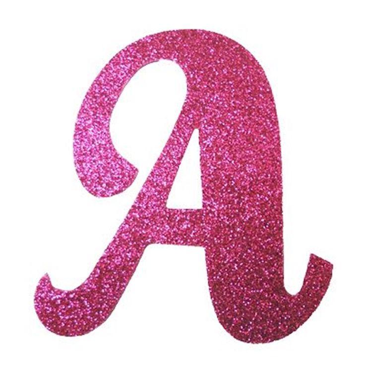 Letra Cursiva em Gliter - A - Pink. Carregando.