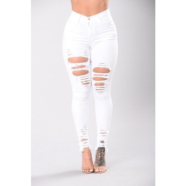 Tell Your Boy Bye Jeans White ($20) ❤ liked on Polyvore featuring jeans, skinny jeans, high waisted ripped jeans, high waisted white skinny jeans, high-waisted skinny jeans and ripped skinny jeans
