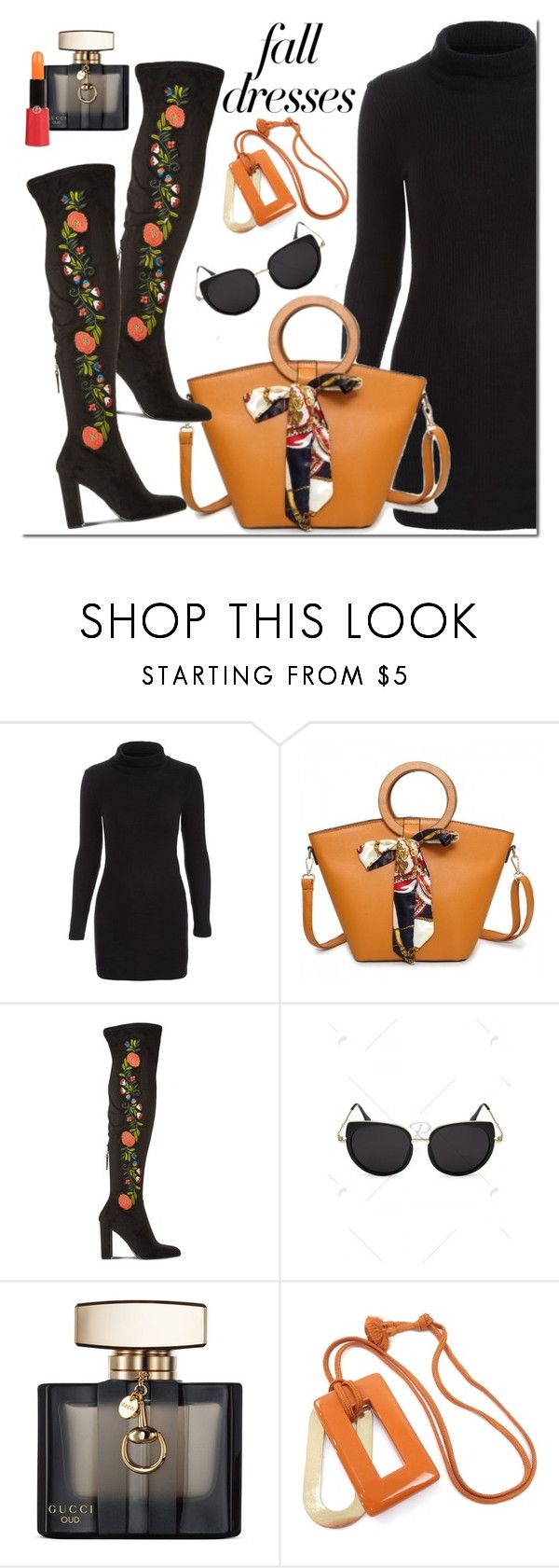 """""""Fall dress"""" by mada-malureanu ❤ liked on Polyvore featuring Steve Madden, Gucci, Hermès and Giorgio Armani"""