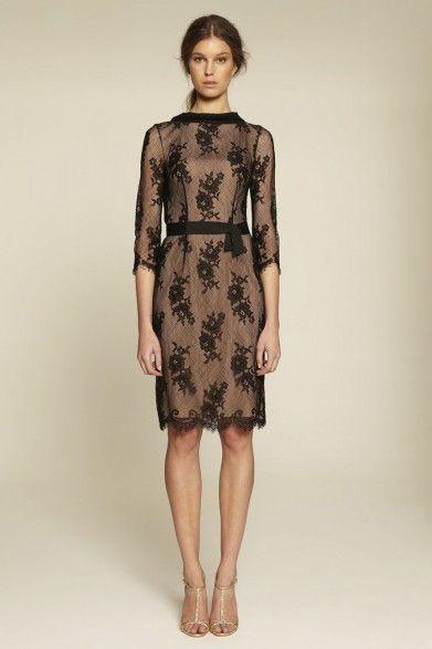 Collette Dinnigan French Noir Roses High Neck Sleeve Dress