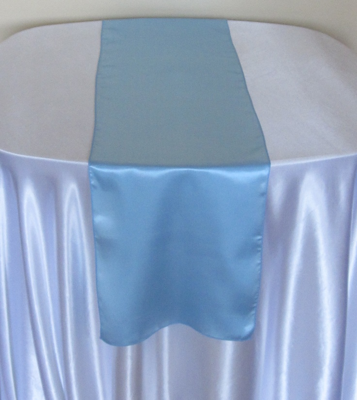 Awesome LIGHT BLUE, SATIN TABLE RUNNER AVAILABLE TO HIRE £2.50 EACH