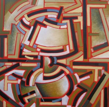 51 x 51 cm Oil on CAnvas $532 - Cubist table lamp.