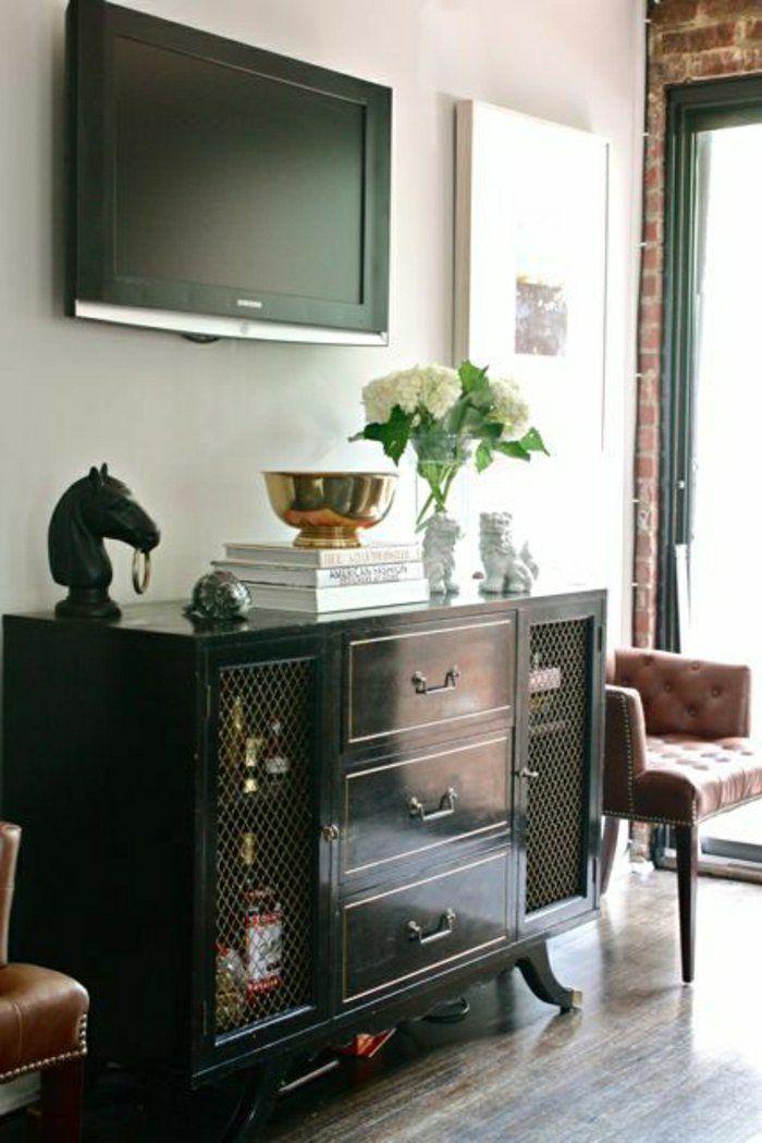 meuble télé en bois noir de style rétro, salon design, mur blanc, mur de briques rouges