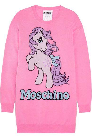 MOSCHINO MOSCHINO - MY LITTLE PONY INTARSIA WOOL MINI DRESS - PINK. #moschino #cloth #
