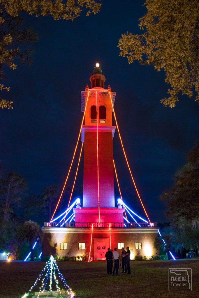 Carillon tower at Stephen Foster State Park during Festival of Lights.