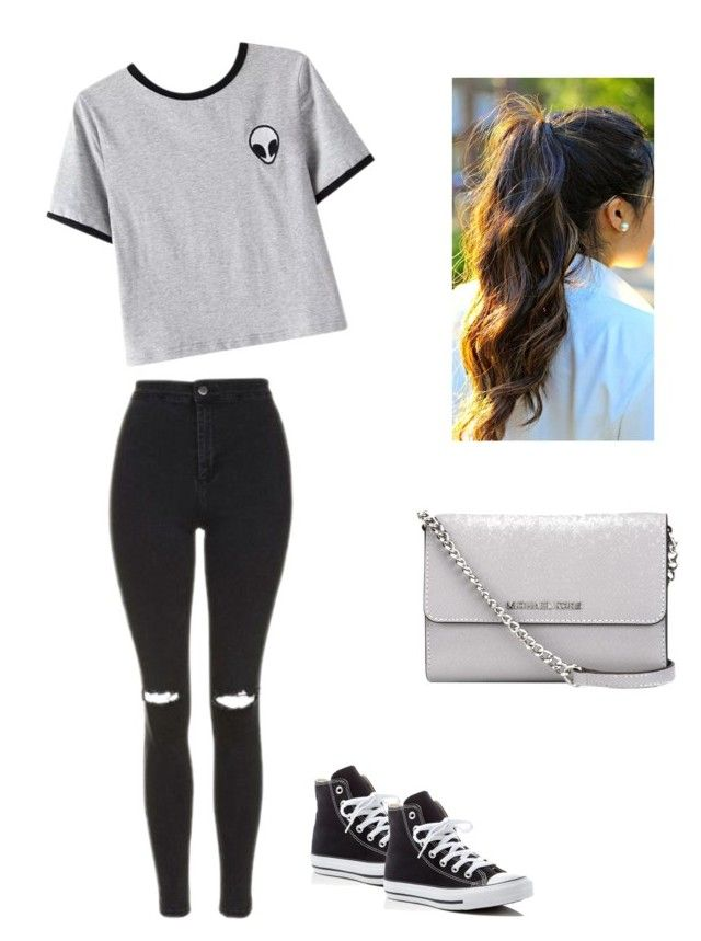 """Untitled #3"" by hannaklar on Polyvore featuring Topshop, Converse, Chicnova Fashion and MICHAEL Michael Kors"