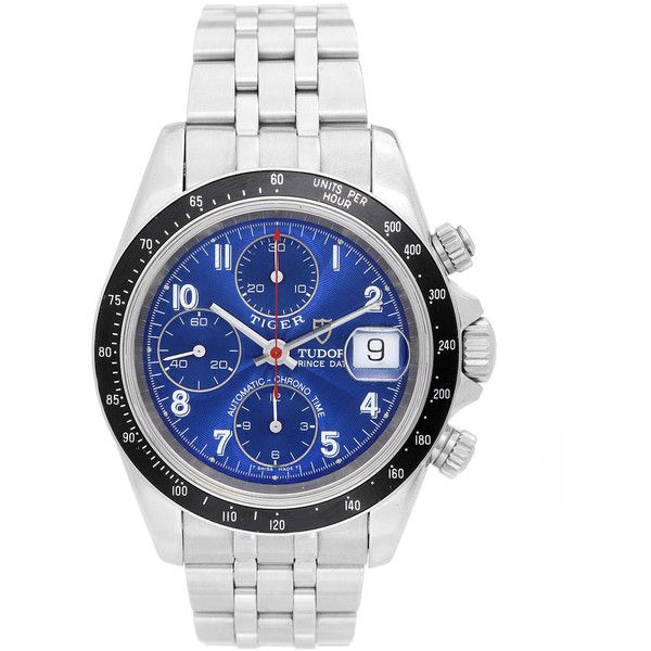 Pre-Owned Tudor Tiger Woods Prince Chronograph Stainless Steel Watch ($3,295) ❤ liked on Polyvore featuring jewelry, watches, stainless silver, stainless steel watches, stainless steel jewelry, blue jewelry, pre owned watches and pre owned jewelry