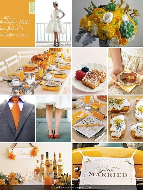 Breakfast for dinner idea and flower scheme but with sunflowers