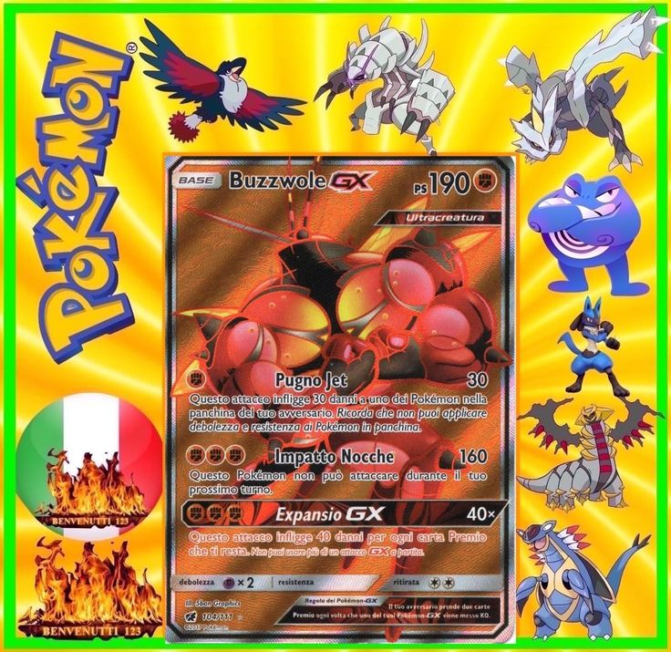 Pokemon, buzzwole gx, 104/111, in italiano