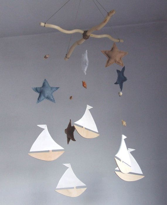 Baby-Krippe-Mobile, Baby mobile, Segelboot Mobil, Kinderzimmer Baby mobile, mobile Schiff, Sternen baby Mobil, nautische Kinderzimmer Decor