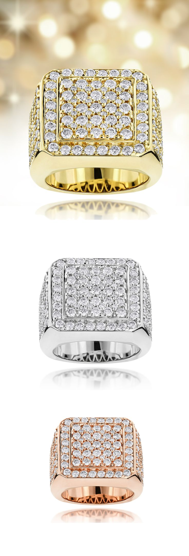 This dazzling 14K Gold Mens Designer Diamond Rings Collection item showcases 6.02 carats of exquisite round diamonds, each masterfully pave or prong set in a lustrous gold frame. Featuring a simple but absolutely luxurious design and a highly polished gold finish, this mens diamond ring from our designer diamond jewelry collection is available in 14K or 18k white gold, yellow gold, rose gold or Platinum.