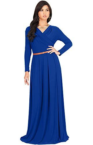 Big Deals for KOH KOH Petite Womens Long V-Neck Sleeve Sleeves Fall Formal  Flowy Floor Length Evening Casual Da…  a4902a5bf