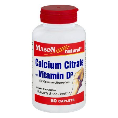 Mason Natural Calcium Citrate with Vitamin D3 Caplets, 60 count, Multicolor