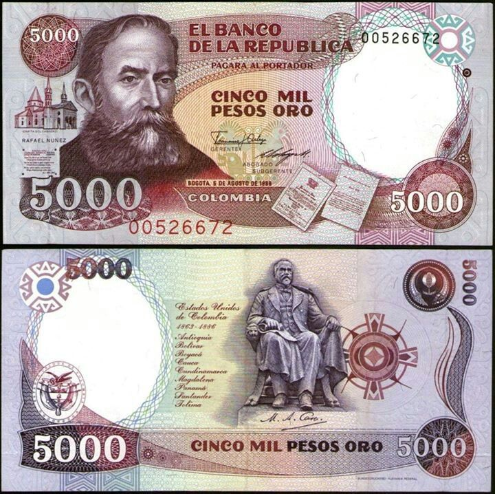 ¡¡¡¡BILLETE DE 5000 PESOS,EMITIDO EN 1986!!!