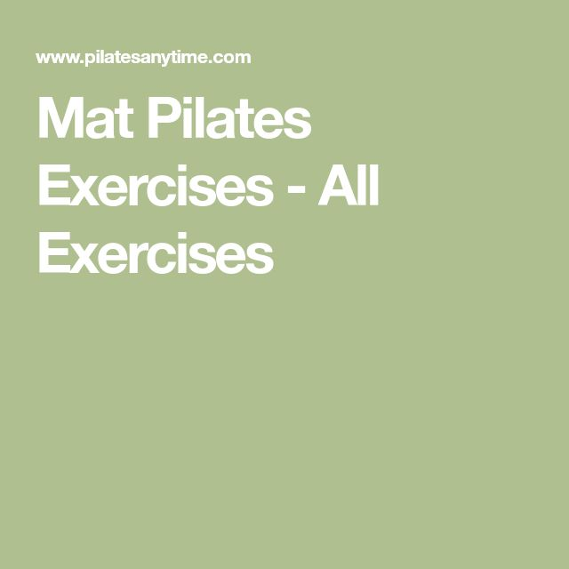 Mat Pilates Exercises - All Exercises