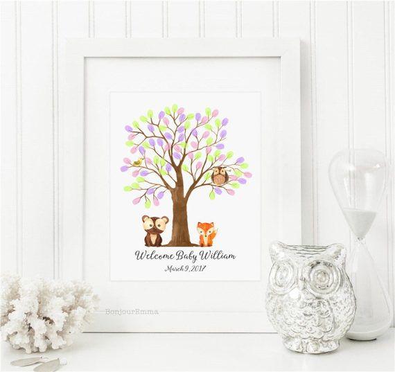 Baby Shower Fingerprint Tree Woodland Baby Shower Guest Book Alternative,  Watercolor Woodland Animals Bear Fox