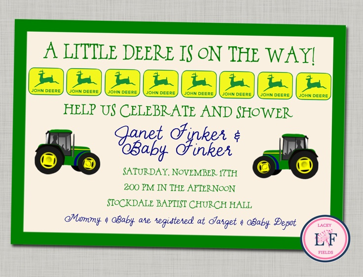 29 best images about john deere baby shower on pinterest | john, Baby shower invitations