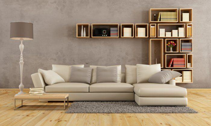 2016 trendfarben wohnzimmer hellgrau betonoptik helles holz wandregale parkett