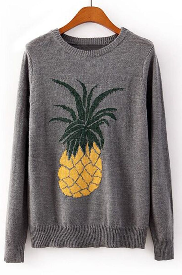 Have this pineapple sweater with free shipping&easy return! This ribbed piece is detailed with soft fabric&cute printing! Find it at Cupshe.com