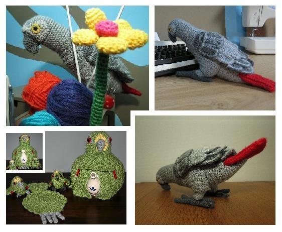 Crochet Parrots / Gehaakte Papegaaien  African Grey & yellow fronted Amazone / Grijze Roodstaart en Geel voorhoofd Amazone