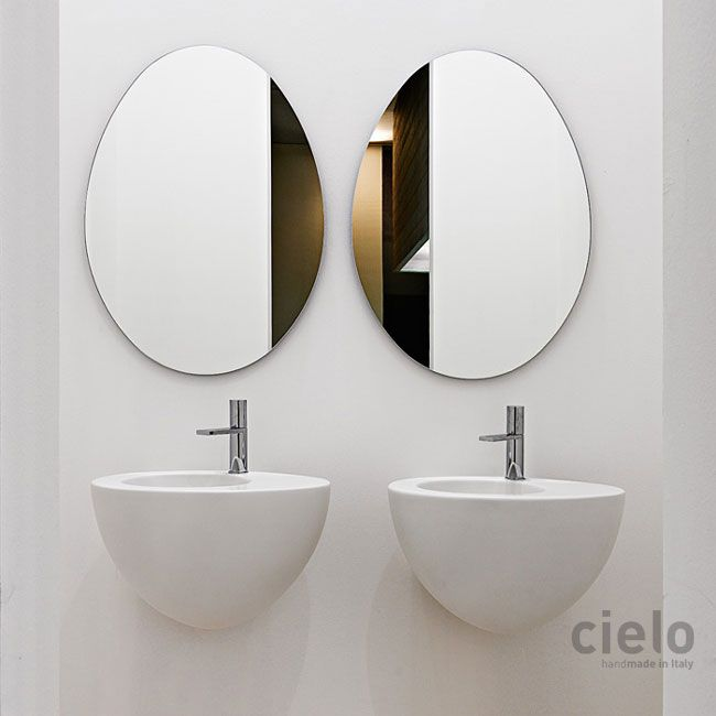 Lavabo suspendido 70 color Talco Le Giare - Lavabo color de baño Ceramica Cielo