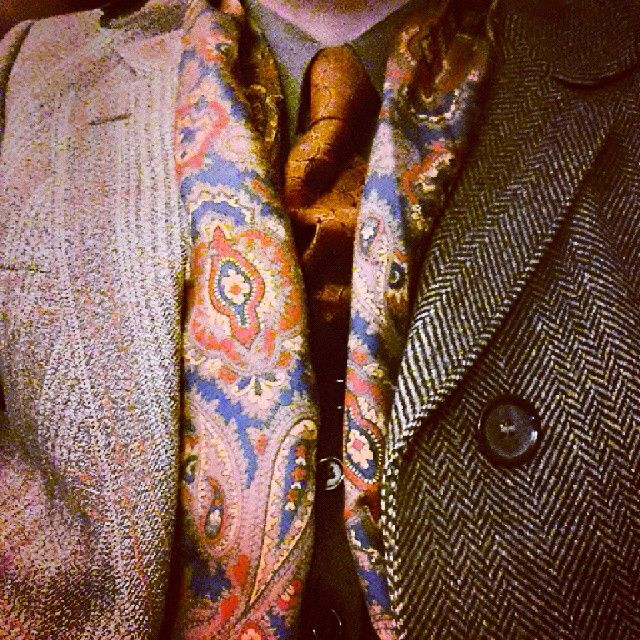 Not done one ,for these for a while... Today's clothing... #60s #Vintage #polyester #Tootal #tie, 60's #paisley Tootal #scarf #70s #tweed #Burtons #suit,  70's #Crombie #coat #tailored by #Berwin