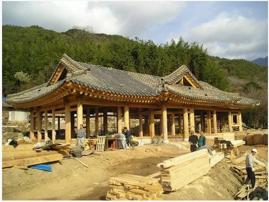Building of a traditional Korean house