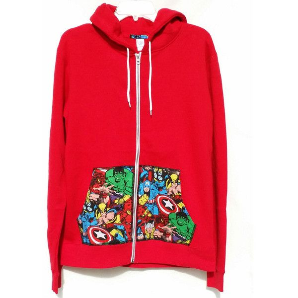 Super Hero Marvel Comic Patched Unisex Black Fleece Slim Fit Zip Up... ($35) ❤ liked on Polyvore featuring tops, hoodies, jackets, sweaters, sweatshirts, brown, women's clothing, plus size zip up hoodie, zip up hoodies and fleece hoodie