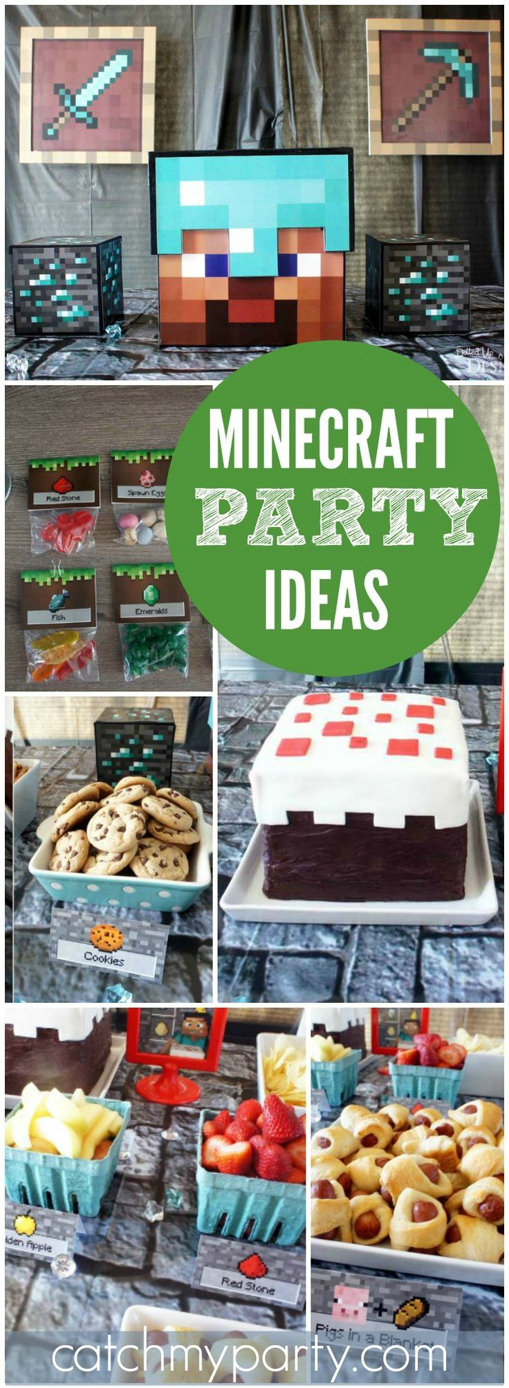 Check out this cool Minecraft boy birthday party! See more party ideas at CatchMyParty.com!