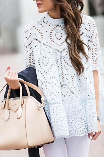 Loving this white on white ensemble, with pops of color in her blush Givechy tote and charcoal cardigan. // Need help getting to glamorous? Learn more about Dr. Sacha Obaid's cosmetic procedures at www.northtexasplasticsurgery.com. #FairyGlamFather