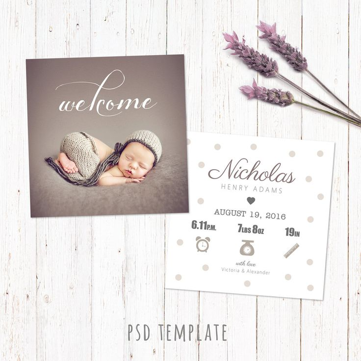 Birth announcement template card. Digital baby birth card. Fully editable photoshop PSD files for instant download. Size 5x5 inch. by PenguinGraphics on Etsy