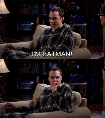 The Big Bang Theory - I'm Batman! SHHHHH!: Bigbangtheori, Sheldon Cooper, Funny Pictures, Big Bangs Theory, Book Review, Scene, Funny Stuff, I M Batman, I'M