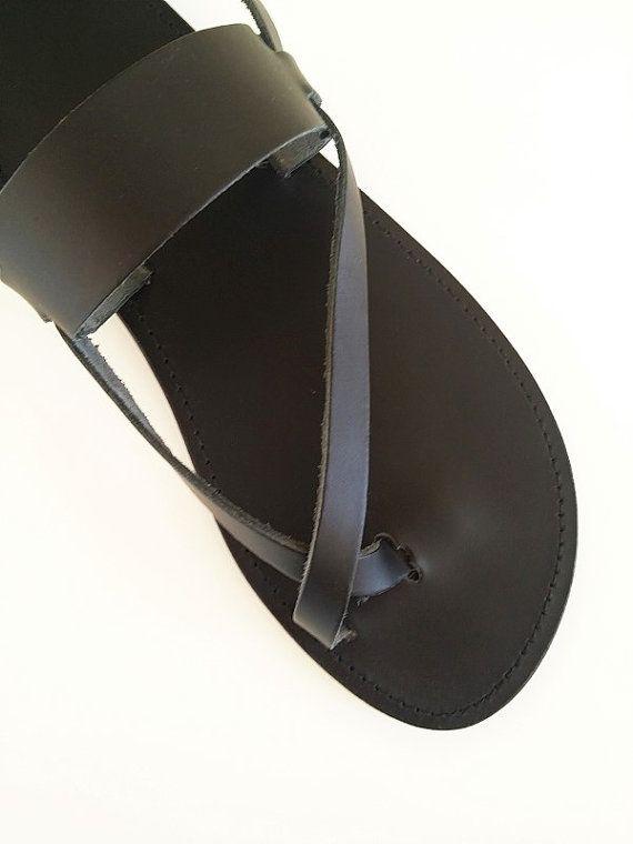 Women Leather Sandal-Black Toe Ring Ancient Greek by Leatherhood