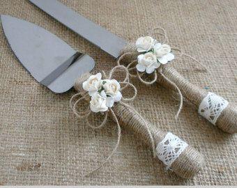 Pastel de boda servidor cuchillo melocotón boda rústico pastel