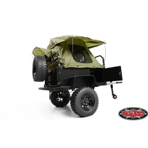 This is the RC4WD 1/10 scale Bivouac M.O.A.B. Camping Trailer with Tent. FEATURES: Hand made trailer Officially licensed by the Bivouac Camping Trailers Company Stamped steel 1.55 stock black beadlock
