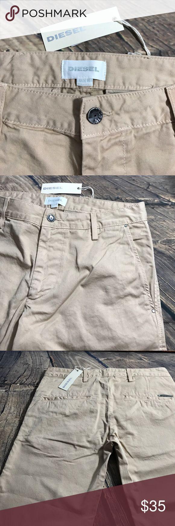 """32"""" waist Diesel shorts Youth Boy Khaki shorts Youth boy shorts with 10 1/2"""" inseam and 32 waist New Diesel Khaki shorts Diesel Bottoms Shorts"""