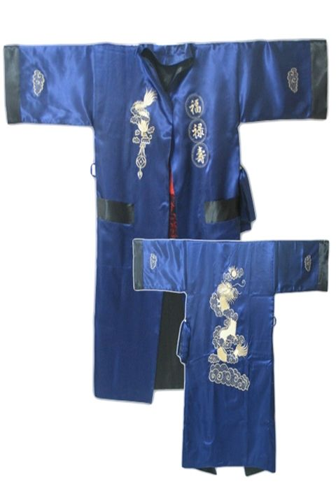 5f497e6c23 Navy Blue Black Reversible Chinese Men s Satin Silk Two-face Robe  Embroidery Kimono Bath Gown