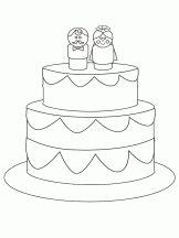 Maak de bruidstaart op, kleuters / Coloriage Mariage
