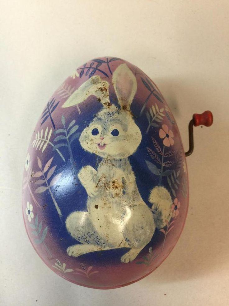 Vintage 1953 Mattel Tin Metal Bunny Rabbit Litho Musical Easter Egg #Mattel
